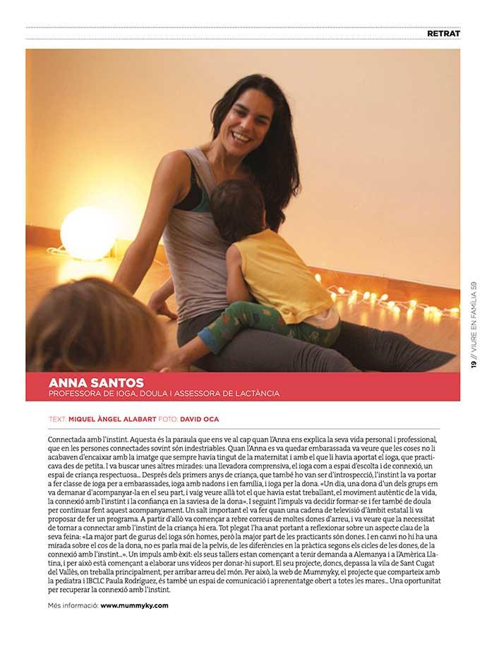 Retrat d'Anna Santos a la revista viure en familia